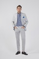 Grey Pure Linen Single-Breasted Blazer