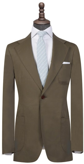 Olive Green Cotton Single-Breasted Blazer