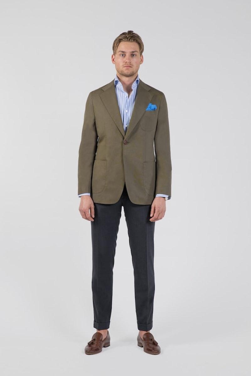 Olive Green Cotton Single-Breasted Blazer