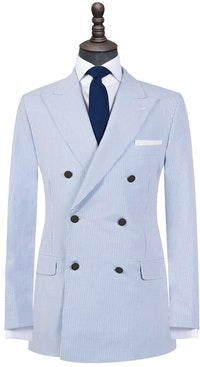 White on Blue Seersucker Double-Breasted Blazer