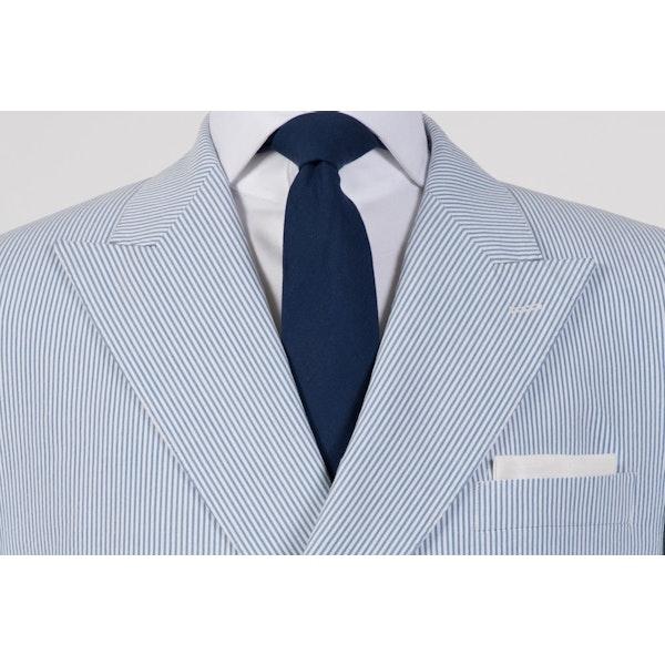 White on Blue Seersucker Double-Breasted Blazer