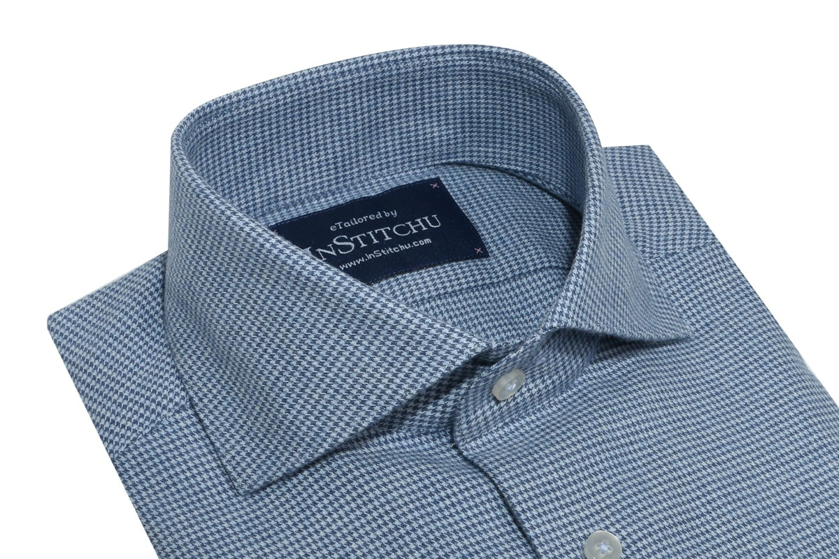 InStitchu Collection Light and Mid Blue Houndstooth Flannel