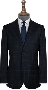 Harvey Deep Navy and Grey Windowpane