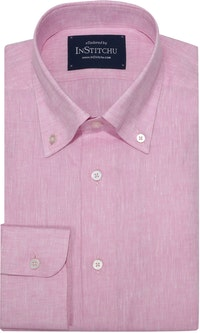 InStitchu Collection Pink Linen Button Down Shirt