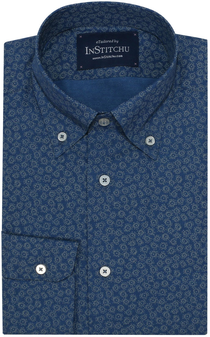 InStitchu Collection Floral Blue Autumn Print