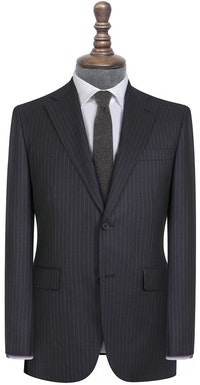 Alfred Vitale Barberis Charcoal and White Pinstripe