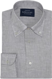 InStitchu Collection Pure Slate Grey Linen Button Down Shirt