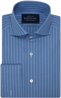 InStitchu Collection Powder Blue Single Smart Stripe