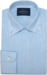 InStitchu Collection Sky Blue Linen Button Down Shirt
