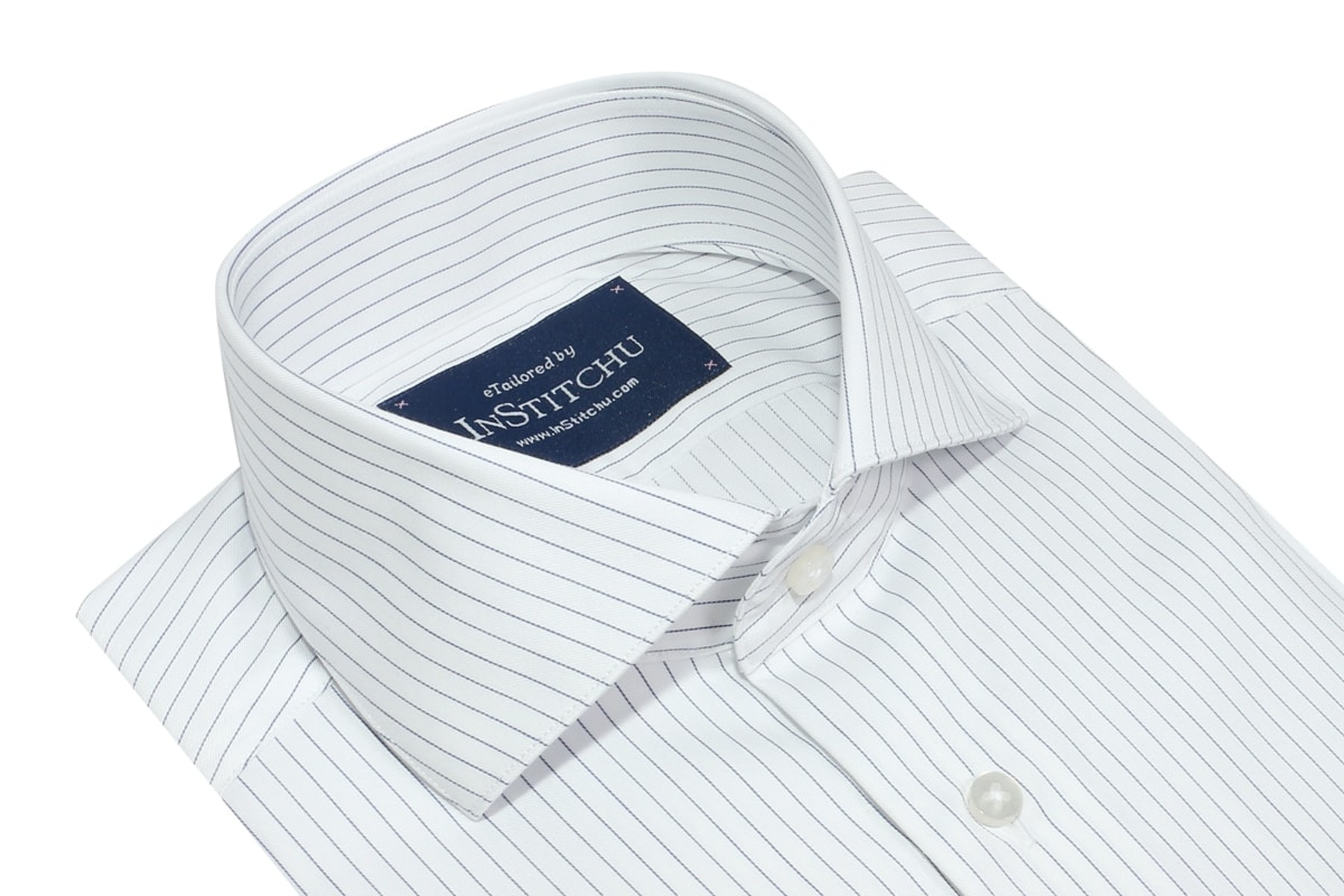 InStitchu Collection Wrinkle Free Royal Blue Striped