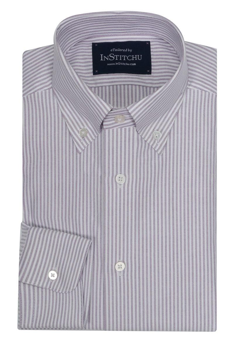 InStitchu Collection Oxford Purple Cotton Striped
