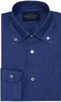 InStitchu Collection Royal Blue Linen Button Down Shirt