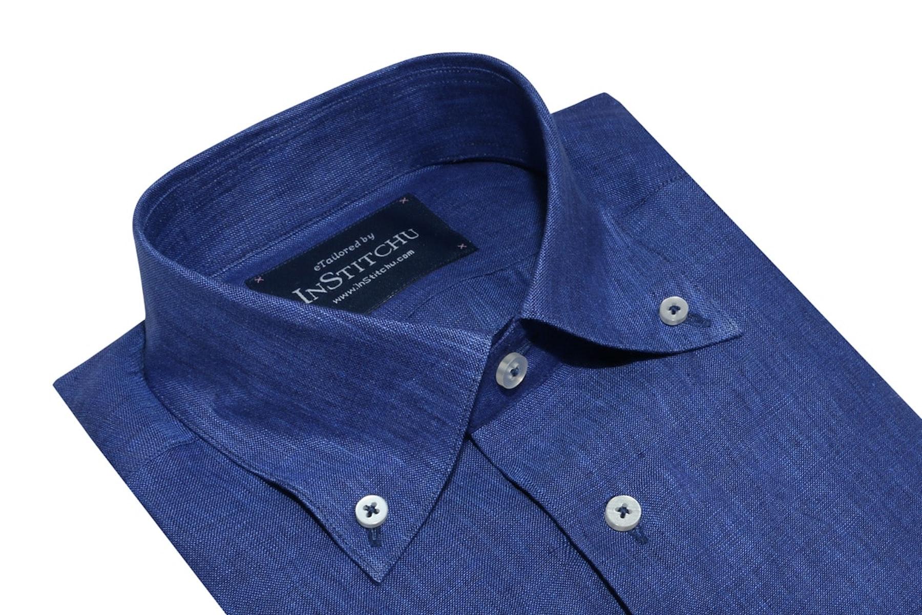 InStitchu Collection Royal Blue Linen Button Down Shirt