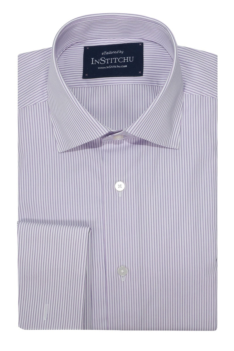 InStitchu Collection Wrinkle Free Navy Edged Pink Striped