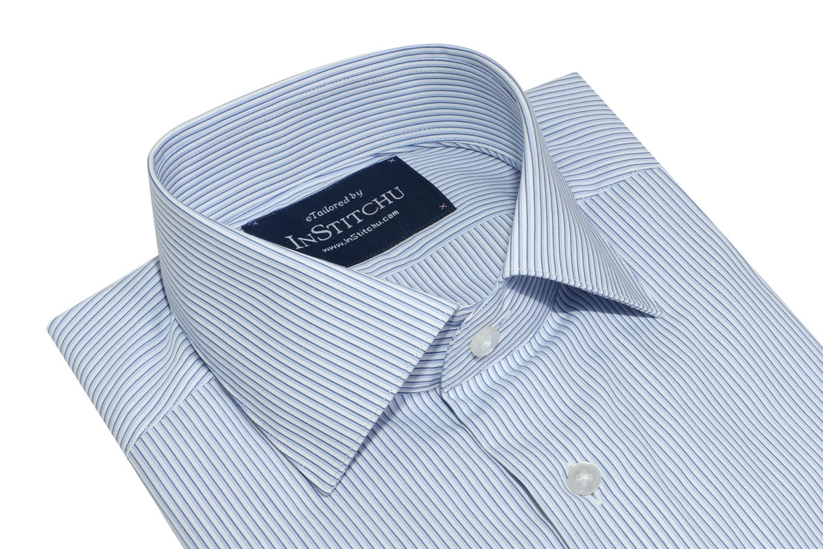 InStitchu Collection Wrinkle Free Navy Edged Blue Striped