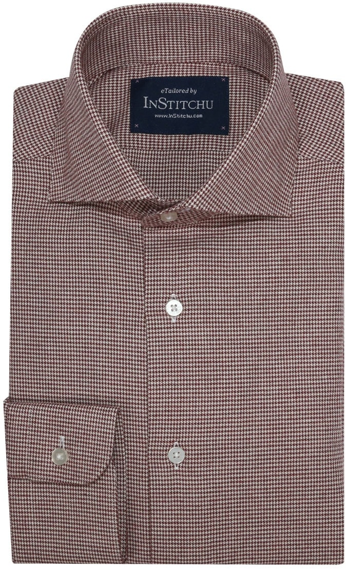 InStitchu Collection Burgundy and White Houndstooth Flannel