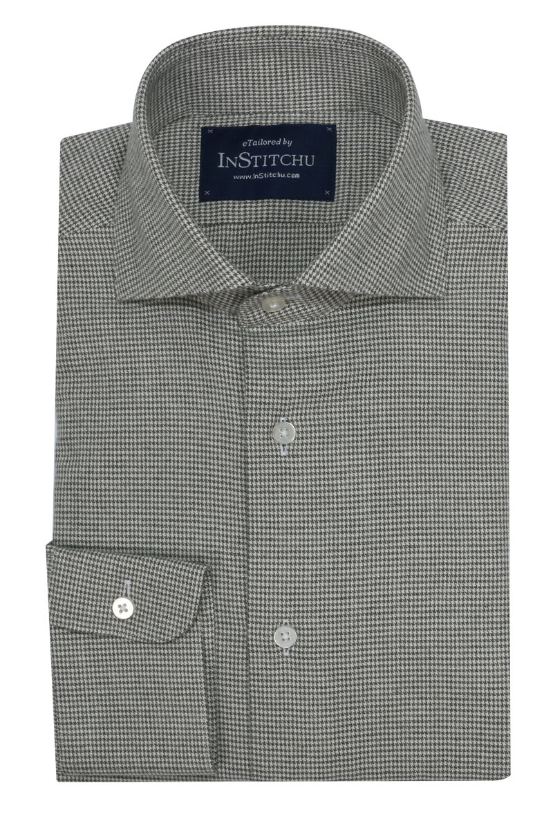 InStitchu Collection Olive and White Houndstooth Flannel